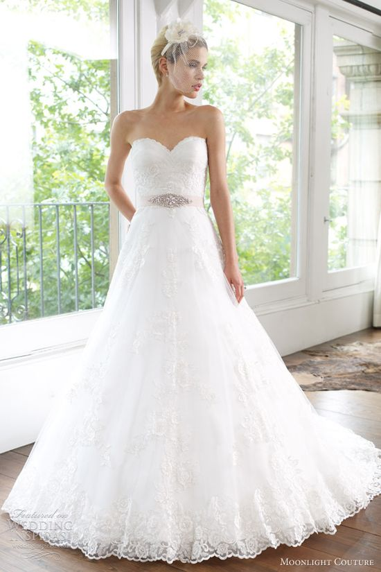 moonlight couture wedding dresses spring 2013 strapless a line lace gown h1218