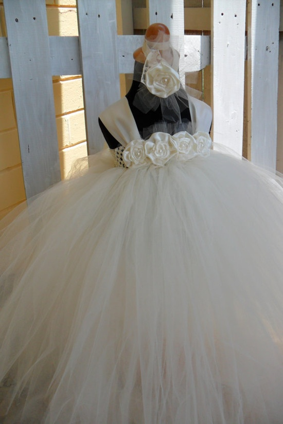 Flower Girl Tutu Dress Tutu Dresses Ivory Flower Girl by gurliglam, $65.00