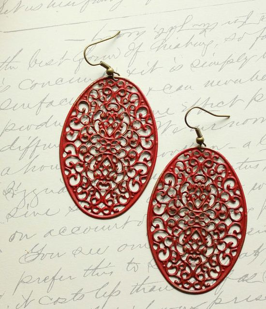 Red Patina Earrings Dangle Rusty Red Filigree by apocketofposies