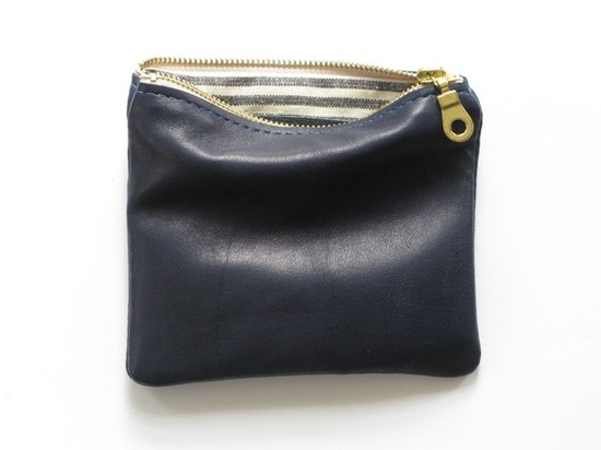 five inch small wallet pouch - navy lambskin