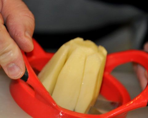 Use an apple slicer to quickly cut potatoes into perfect wedges.