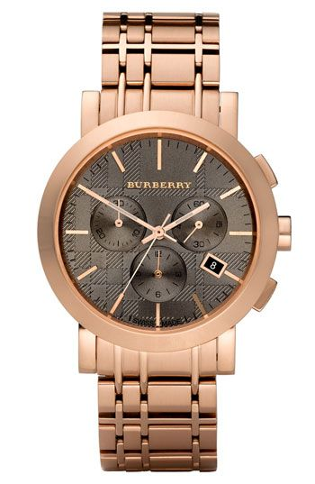 Burberry Round Rose Gold Chronograph Watch #Nordstrom #NSale