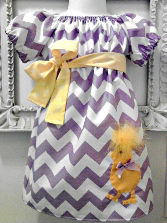 Vintage Stitches Easter Chick Chevron Sophia Dress - Easter Dress - Chevron Dress- Girls Dress- Spring Dress. $38.00, via Etsy.