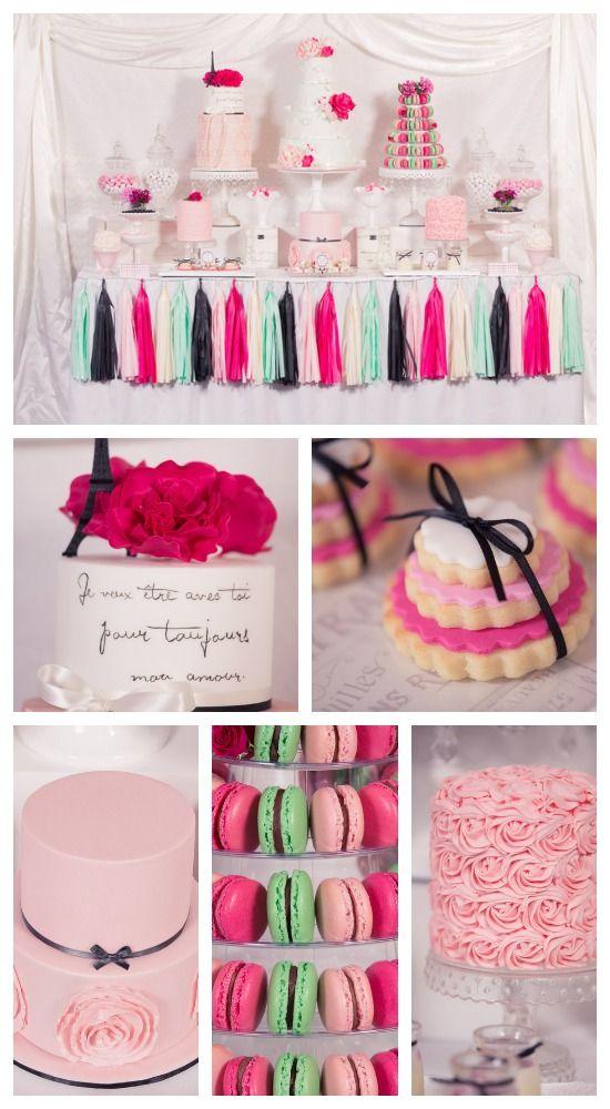 Parisian pink dessert table