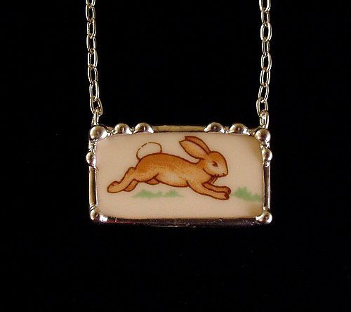 Bunnykins running bunny broken china plate necklace by Laura Beth Love