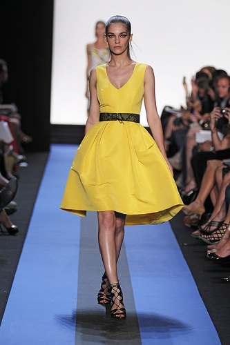 Monique Lhuillier Yellow Cocktail Dress. (a favourite VIP Fashion Australia repin of www.vipfashionaus... - specialising in blacklabel fashion women's clothing Australia and globally)