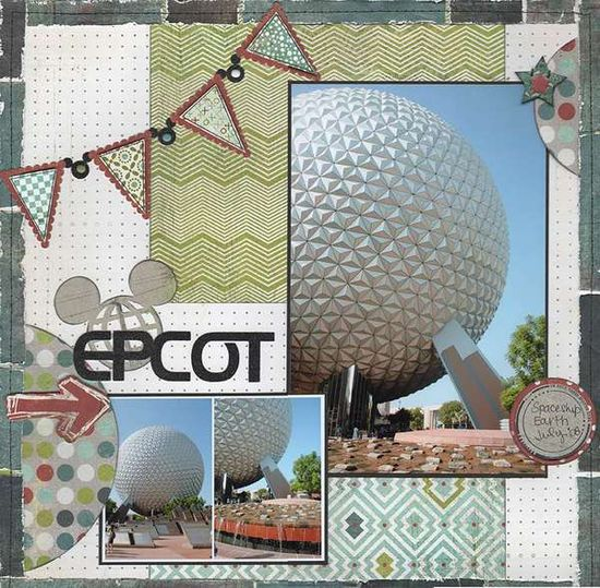 Disney World Attractions Scrapbook Embellishments or Window Decorations Epcot Spaceship Earth