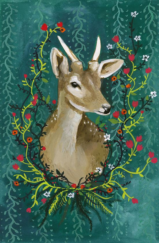 Deer with Flowers  Print by amberalexander