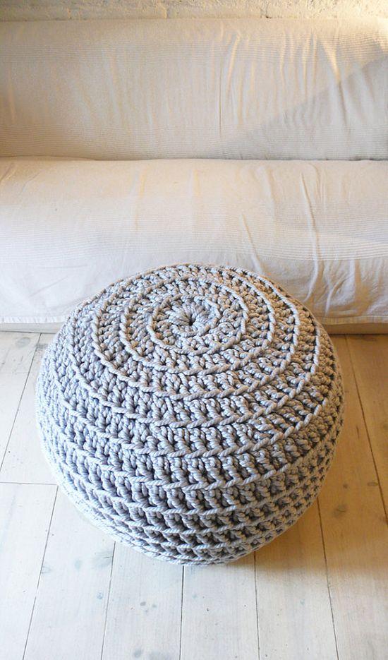 Super Giant Pouf Crochet  Thick Cotton  Silver por lacasadecoto, €154.00