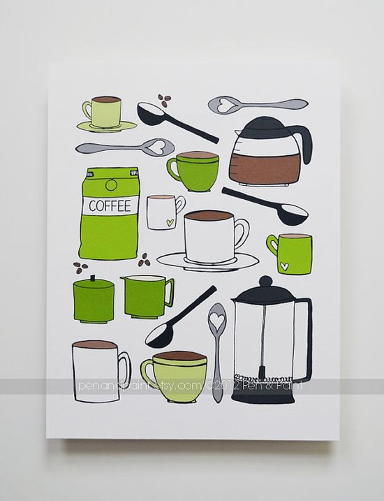 CHOOSE your color Kitchen Art Kitchen Decor I love by penandpaint, $14.00
