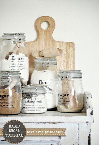 60  Innovative Kitchen Organization and Storage DIY Projects - MAGIC Decal Tutorial with Free Printables  If you are planning to organize your dry goods in jars, these decals are a great way to save time and get labels in place.
