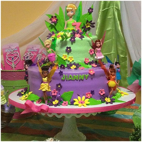 Love this adorable Tinkerbell fairy cake!  See more party ideas at CatchMyParty.com!  #girlbirthday #fairy #partyideas