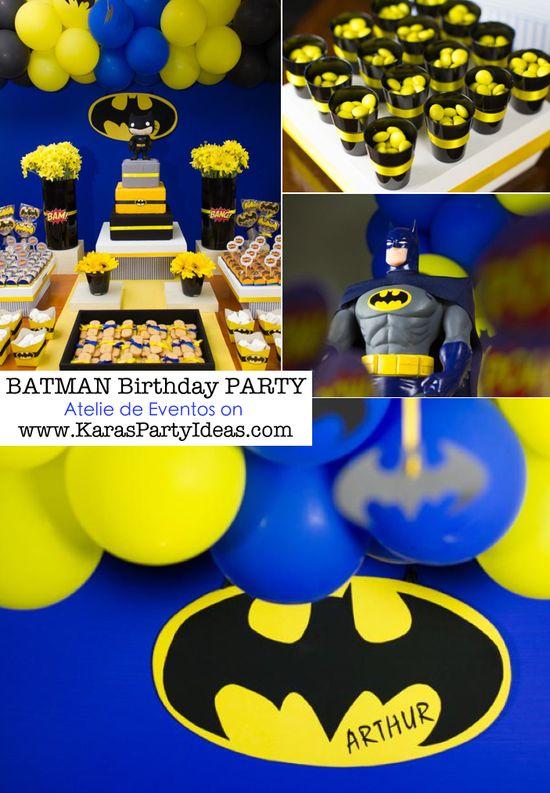 BATMAN themed birthday party via Karas Party Ideas KarasPartyIdeas.com #batman #birthday #party #ideas #cake #decorations #cupcakes #favors #idea #boy