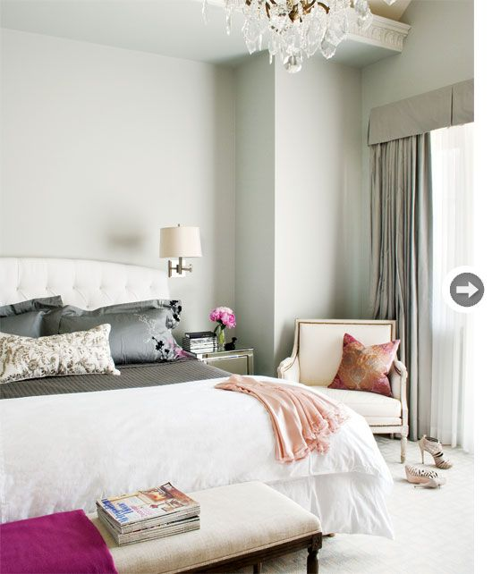 "Vancouver townhome. The master bedroom showcases a vaulted ceiling and an ornamental frieze detail, which complements the space's feminine aesthetic and hides a more practical feature: ""There's lighting in that recess that shines up onto the ceiling, so at night it has a beautiful glow,"" says Jim."
