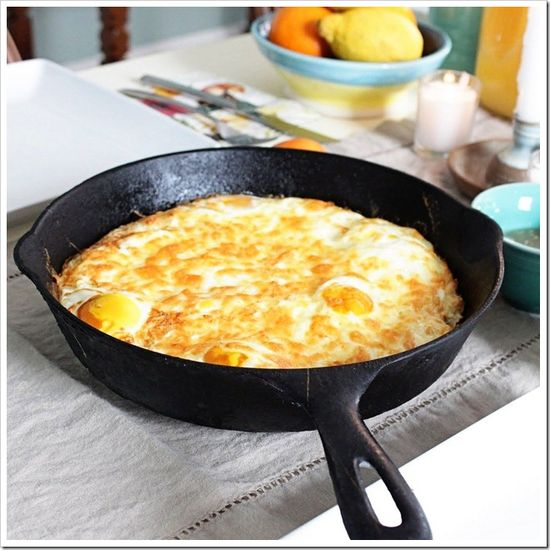 Baked Eggs with Crispy Hash Brown Crust~ 3 ingredients..potatoes, eggs & cheese. Got my iron skillet ready!