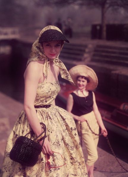 Photo by Chaloner Woods - love the summery headscarf with visor. #vintage #1950s #dresses #fashion