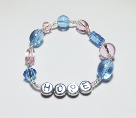 HOPE with Pink and Blue Glass Stretch Beadwork Bracelet by tzteja, $8.00 #jewelry, #bracelet, #beaded, #designsbytamiza, #handmade, #ooak, #glass, #pink, #blue, #pinkandblue, #hope, #dg, #deegee, #stretchbracelet