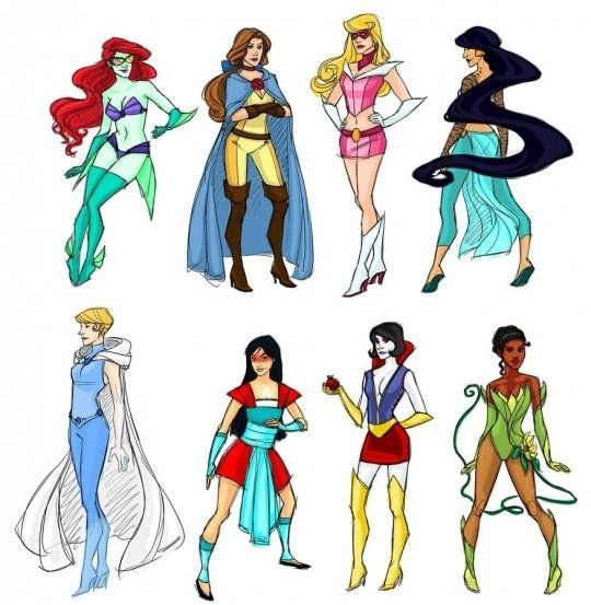 I love Disney princesses, so when I saw these Disney princess superheroes I about died.  So funny.