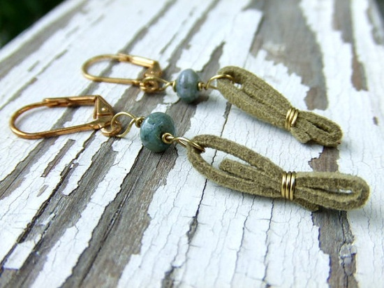 $12 Beautiful leather wire wrapped #earrings at the shop! #handmade #wire #leather #brass @Etsy!