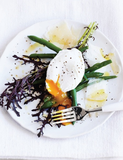 poached + green beans = try easy