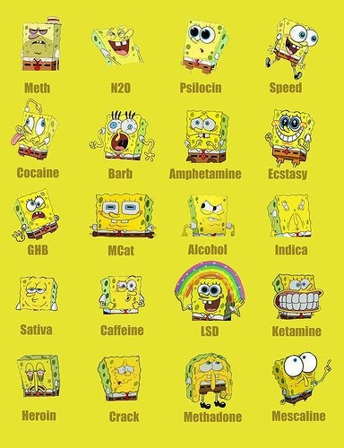 This is Spongebob  & this is Spongebob on drugs