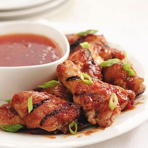 Grilled Peach BBQ Chicken Wings Recipe from Taste of Home -- shared by Silvana Nardone of Brooklyn, New York