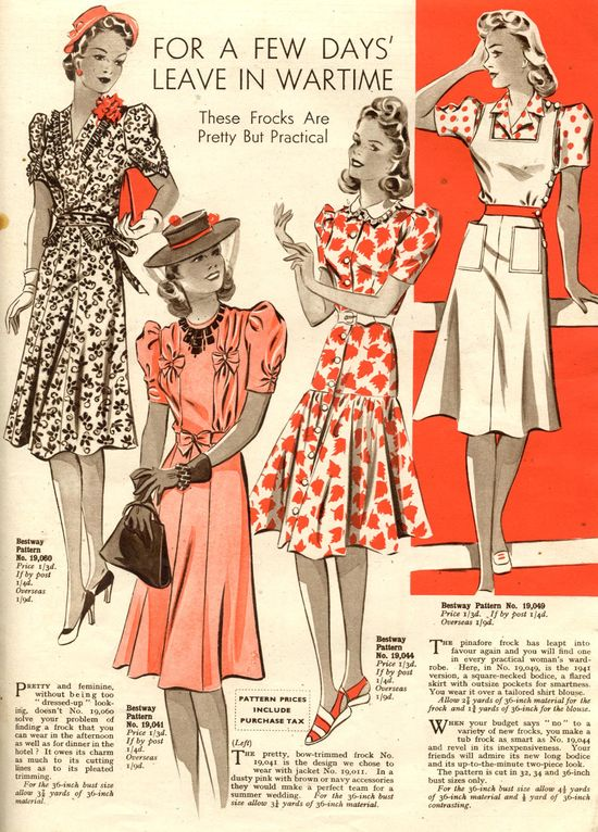 These frocks are pretty but practical! #vintage #1940s #fashion #dresses