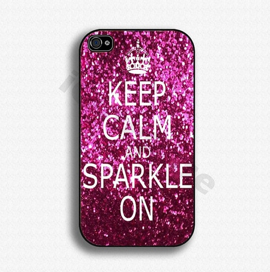 iPhone 4 case iPhone 4s case iPhone case iPhone Hard case for Apple iPhone 4 - Keep Calm and Sparkle on. $14.99, via Etsy.