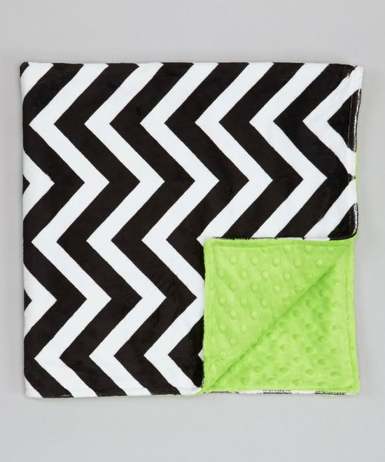 Take a look at this Lolly Gags Bright Lime & Black Zigzag Minky Stroller Blanket on zulily today!