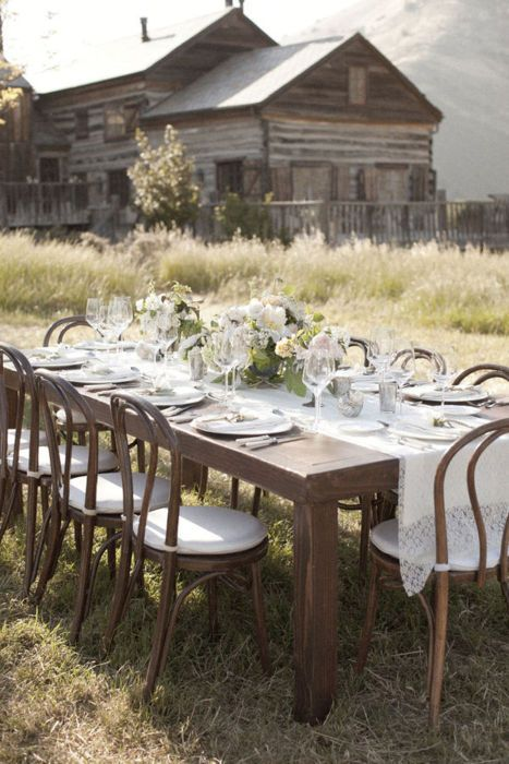 rustic chic outdoor table