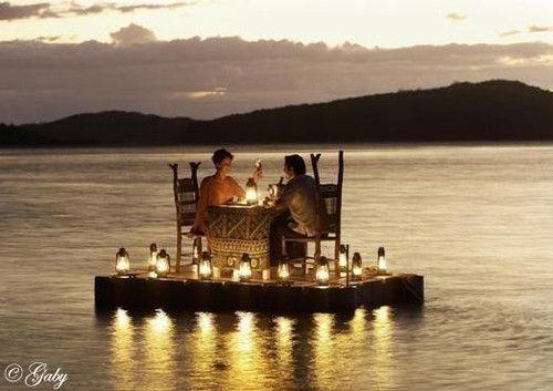a romantic dock dinner