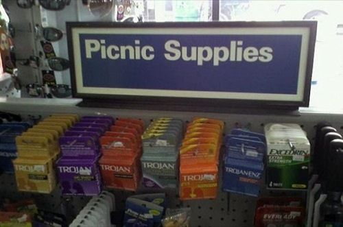Picnic supplies - plates? - check - cups? - check - condoms? - check - #R0UGH