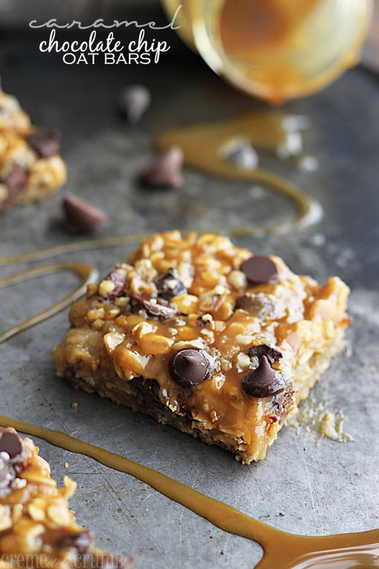 Caramel Chocolate Chip Oat Bars