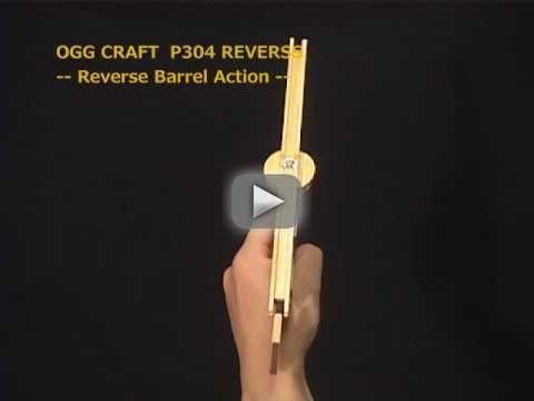 with Rotary Barrel, 2 rounds Rubber Band Gun /OGG CRAFT - handmade handgun.2shots by Reverse Barrel
