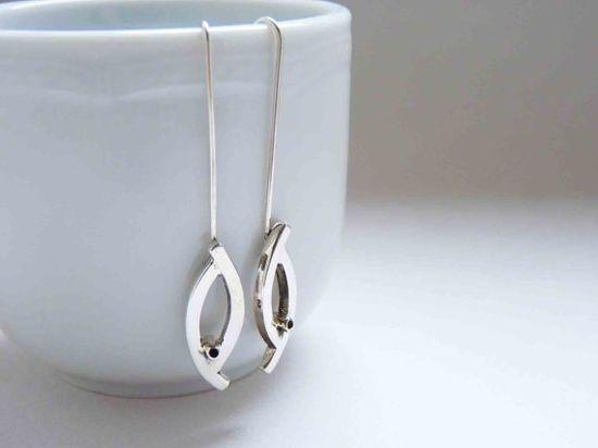 Sterling Silver Little Bird Earrings simple long by aforfebre