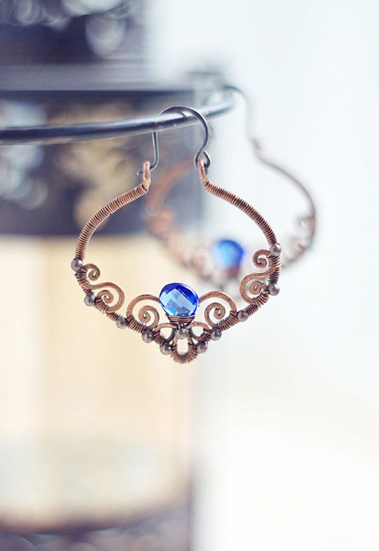 Wire wrapped  copper filigree earrings with navy blue by SabiKrabi, $55.00