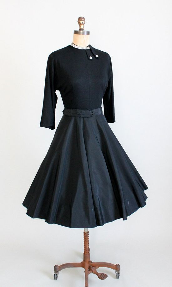 Vintage 1950s Black Winter Party Dress.