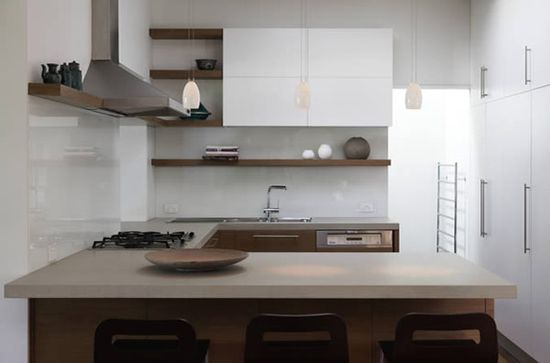 with less upper cabinets small space looks bigger Hare Klein modern interior design