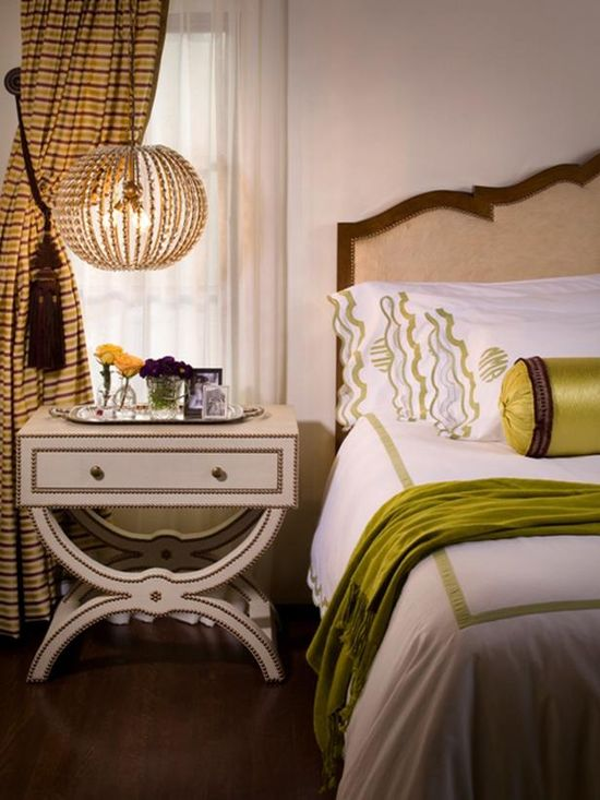 Love the bedside pendants and side table