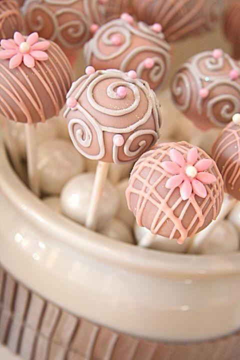 cupcake lollipops, pink, pastels