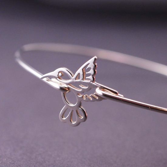 Sterling Silver Hummingbird Bangle Bracelet by georgiedesigns