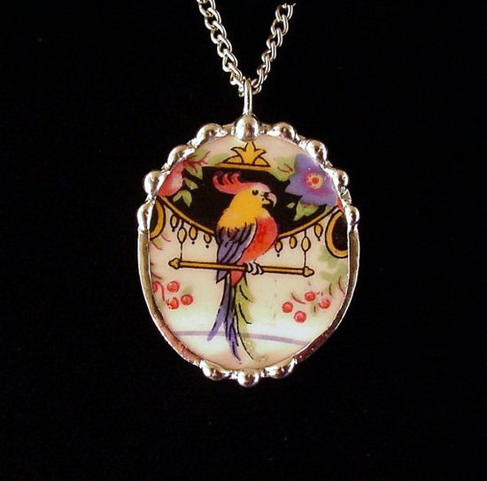 Broken china jewelry oval pendant necklace antique Art Deco parrot colorful china