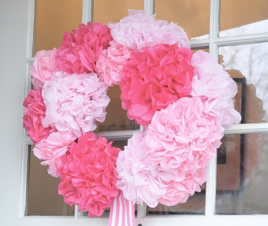 Valentines paper flower wreath