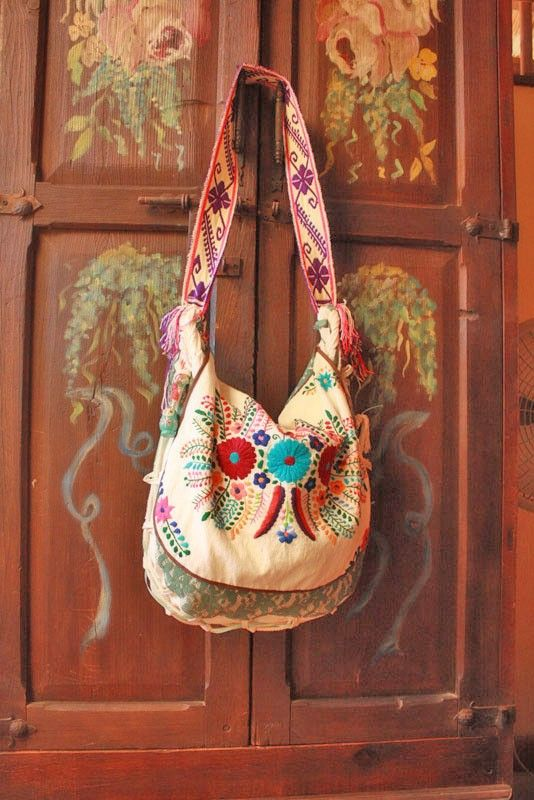 Mexican embroidered bag, Huichol belt-strap& vintage green lace.