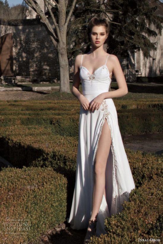 inbal dror 2013 bridal wedding dress thigh high slit spaghetti straps