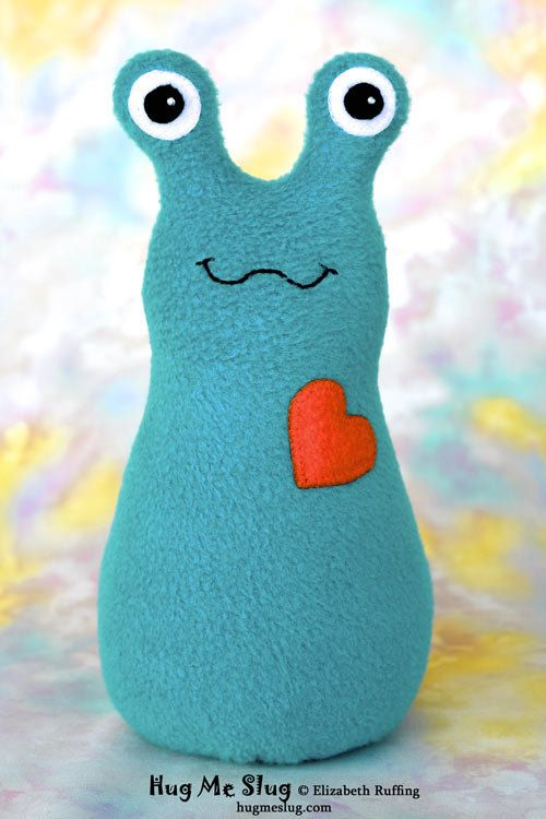 Handmade Slug, Stuffed Animal Plush Doll Art Toy, Hug Me Slug, Turquoise, Orange Fleece, #handmade #toys #toy #stuffed #stuffedtoys