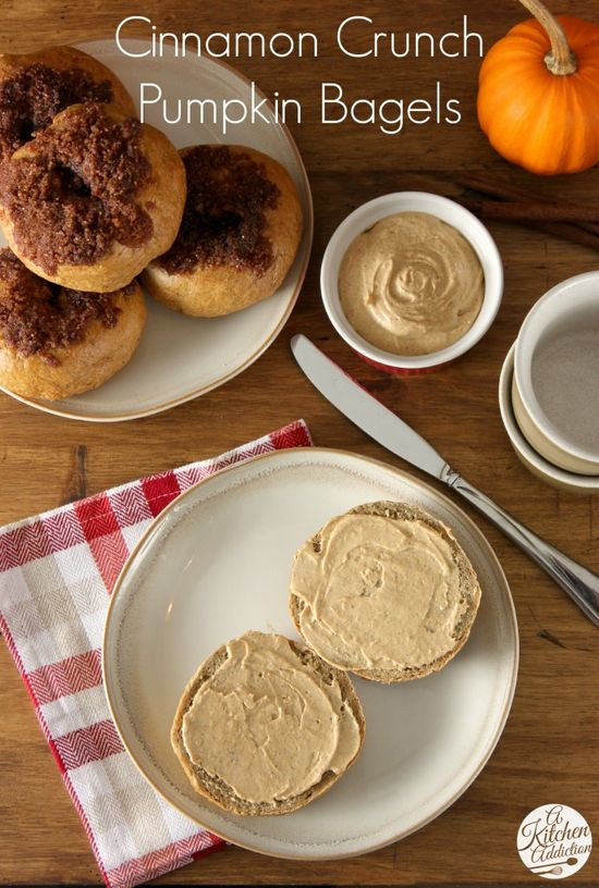 Cinnamon Crunch Pumpkin Bagels with Whipped Pumpkin Pie Cream Cheese Recipe l www.a-kitchen-add...