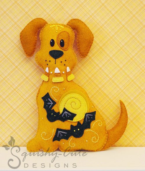 Dog Stuffed Animal Pattern - Felt Plushie Sewing Pattern & Tutorial - Spooky the Halloween Dog - Halloween Embroidery Pattern PDF via Etsy