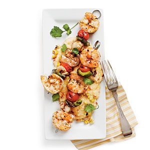 Grilled Shrimp and Smoky Grilled-Corn Grits | SouthernLiving.com