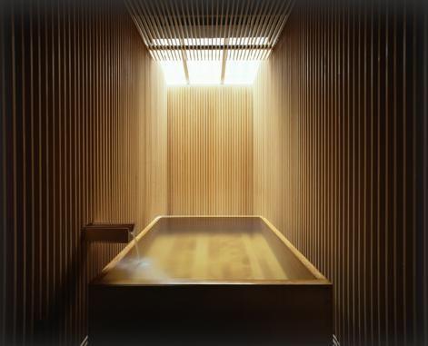 Interior of the Ginzan Onsen Hotel by Japanes architect Kengo Kuma